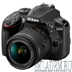 "Nikon D3400 черный {24.2Mpix 18-105mm f/3.5-5.6 VR 2.9"" 1080p Full HD SDXC Li-ion (с объективом)}"