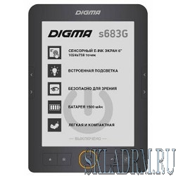 "Электронная книга Digma S683G 6"" E-ink HD Carta 1024x758 Touch Screen/4Gb/microSDHC/frontlight серый [397357]"