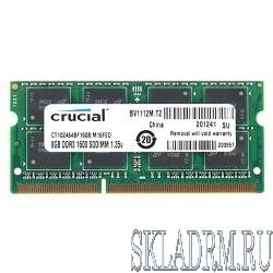 Crucial DDR3 SODIMM 8GB CT102464BF160B PC3-12800, 1600MHz, 1.35V