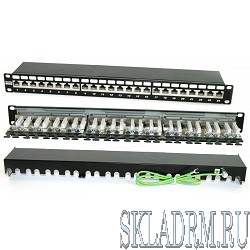 "Hyperline PP2-19-24-8P8C-C6A-SH-110D Патч-панель 19"", 1U, 24 порта RJ-45 полн. экран., категория 6A, 110 IDC"